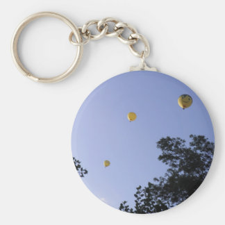 Hot Air Balloons Through The Trees Basic Round Button Keychain