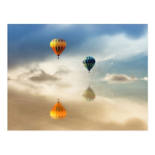 Hot Air Balloons Water Reflection Post Cards
