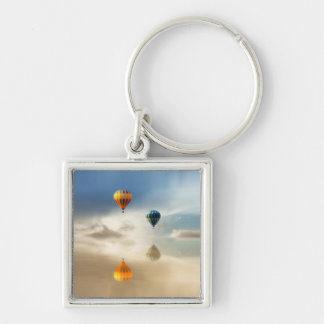 Hot Air Balloons Water Reflection Silver-Colored Square Keychain