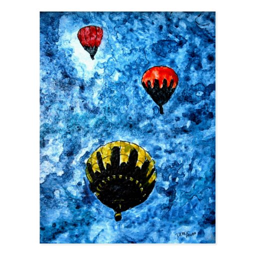 hot air balloons watercolor painting illustration postcards