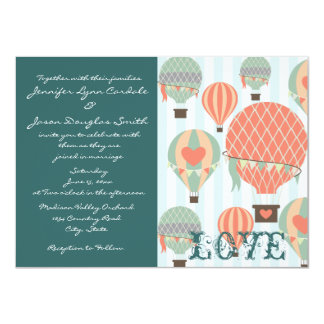 Hot Air Balloons with Hearts Wedding Invitations