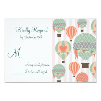 Hot Air Balloons with Hearts Wedding RSVP Cards