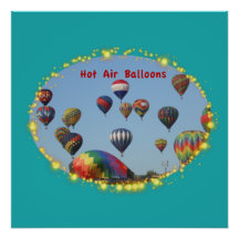 Hot Air Balloons with Sparkle Border Poster