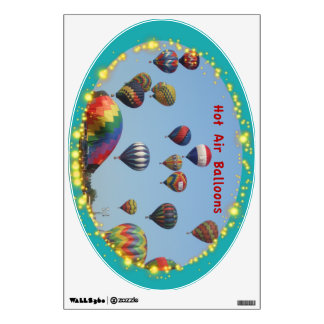 Hot Air Balloons with Sparkle Border Wall Decal 2