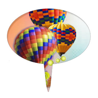Hot-Air balloons with tennis balls Cake Topper