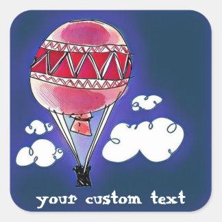 hot air baloon cartoon style illustration square sticker