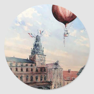 Hot Air baloon old town people crowd painting Classic Round Sticker