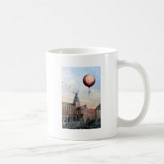 Hot Air baloon old town people crowd painting Coffee Mug