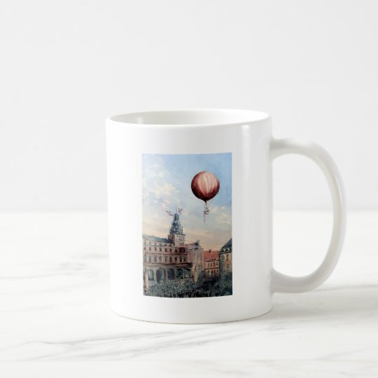 Hot Air baloon old town people crowd painting Coffee Mug