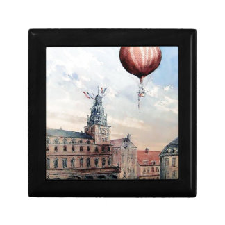 Hot Air baloon old town people crowd painting Trinket Boxes
