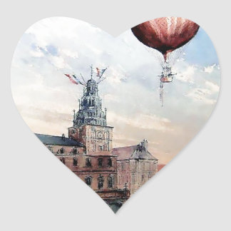 Hot Air baloon old town people crowd painting Heart Sticker