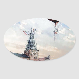 Hot Air baloon old town people crowd painting Oval Sticker