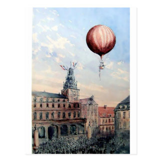 Hot Air baloon old town people crowd painting Postcard