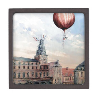 Hot Air baloon old town people crowd painting Premium Jewelry Boxes