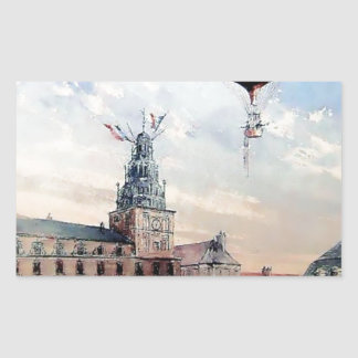 Hot Air baloon old town people crowd painting Rectangular Sticker