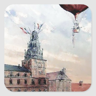 Hot Air baloon old town people crowd painting Square Sticker