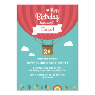 Hot Air Birthday Balloon Invitation