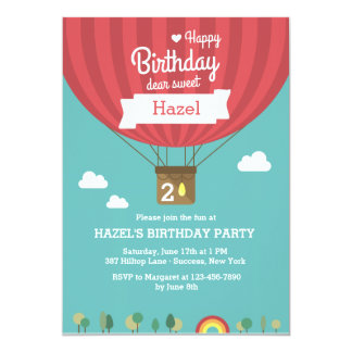 "Hot Air Birthday Balloon Invitation 5"" X 7"" Invitation Card"