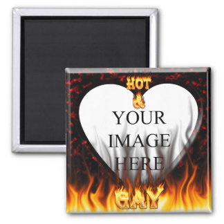 Hot and Gay fire and flames red marble 2 Inch Square Magnet