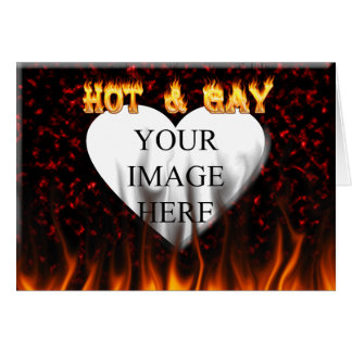 Hot and Gay fire and flames red marble Greeting Card