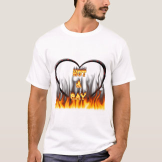 Hot and Gay fire and flames red marble T-Shirt