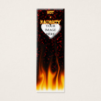 Hot and naughty fire and red marble heart. mini business card
