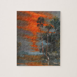 Hot August Fire Sky Jigsaw Puzzle