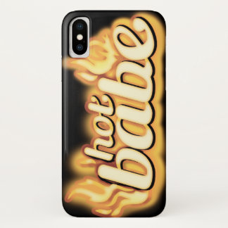 Hot babe gold flame & black iphone case