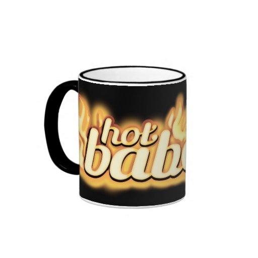 """hot babe"" golden flame set my world on fire mug"