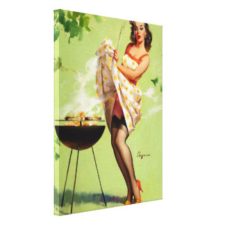 Hot Barbecue Time - Retro Pin Up Girl Canvas Print