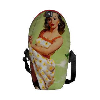 Hot Barbecue Time - Retro Pin Up Girl Messenger Bag