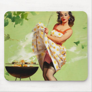Hot Barbecue Time - Retro Pin Up Girl Mouse Pad