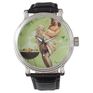 Hot Barbecue Time - Retro Pin Up Girl Wrist Watch