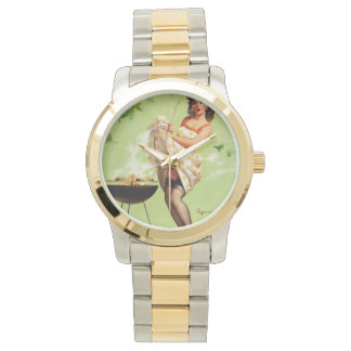 Hot Barbecue Time - Retro Pin Up Girl Wrist Watches