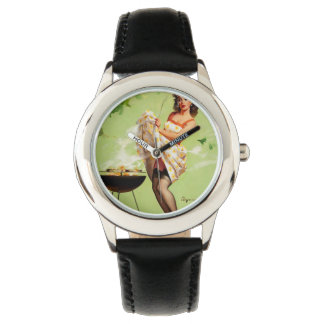 Hot Barbecue Time - Retro Pin Up Girl Wristwatch