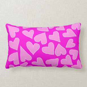 HOT BARBIE PINK WITH LIGHT HEARTS THROW PILLOW