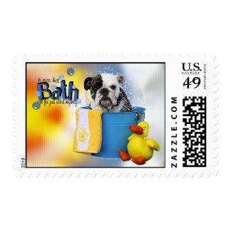 Hot Bath - English Bulldog - Delilah Postage Stamps