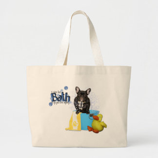 Hot Bath - French Bulldog - Teal Large Tote Bag