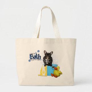 Hot Bath - French Bulldog - Teal Large Tote Bag