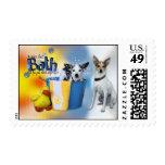 Hot Bath - Rat Terrier Postage Stamps