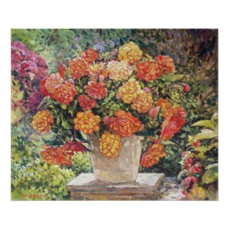 Hot Begonia Oil Painting Print print