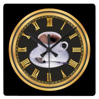 Hot Black coffee shop home office decor Square Wall Clock