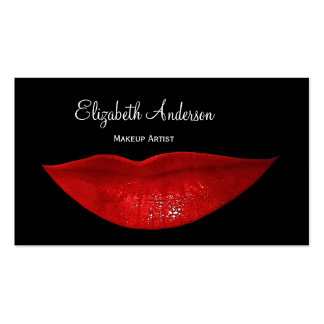 Hot Black Cosmetology Red Lips Makeup Artist Double-Sided Standard Business Cards (Pack Of 100)