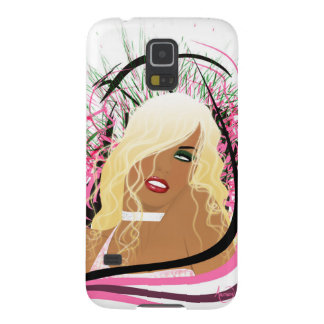 Hot blonde beauty with red lips galaxy s5 cover