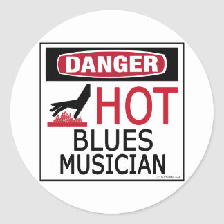 Hot Blues Musician Classic Round Sticker