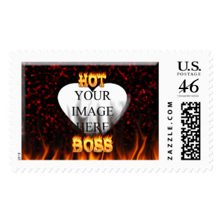 Hot Boss fire and flames red marble Stamp