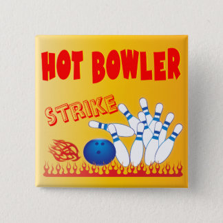hot bowler design pinback button