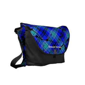 Hot Bright Blue/Black Paint Splatter Custom Messenger Bag