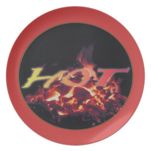 Hot Burning Fire in the Night Party Plates