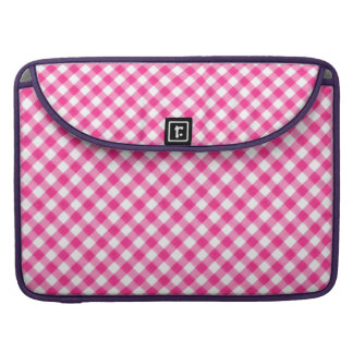 Hot Candy Pink Gingham Checkered pattern Sleeve For MacBooks